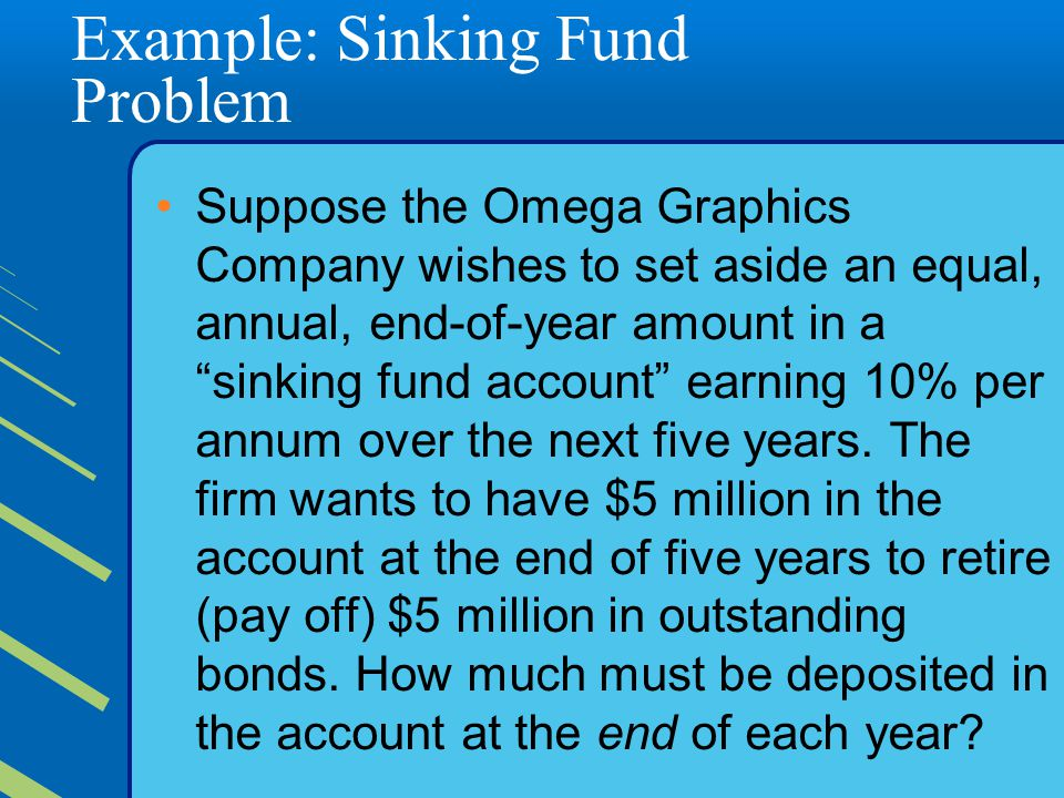 Example: Sinking Fund Problem