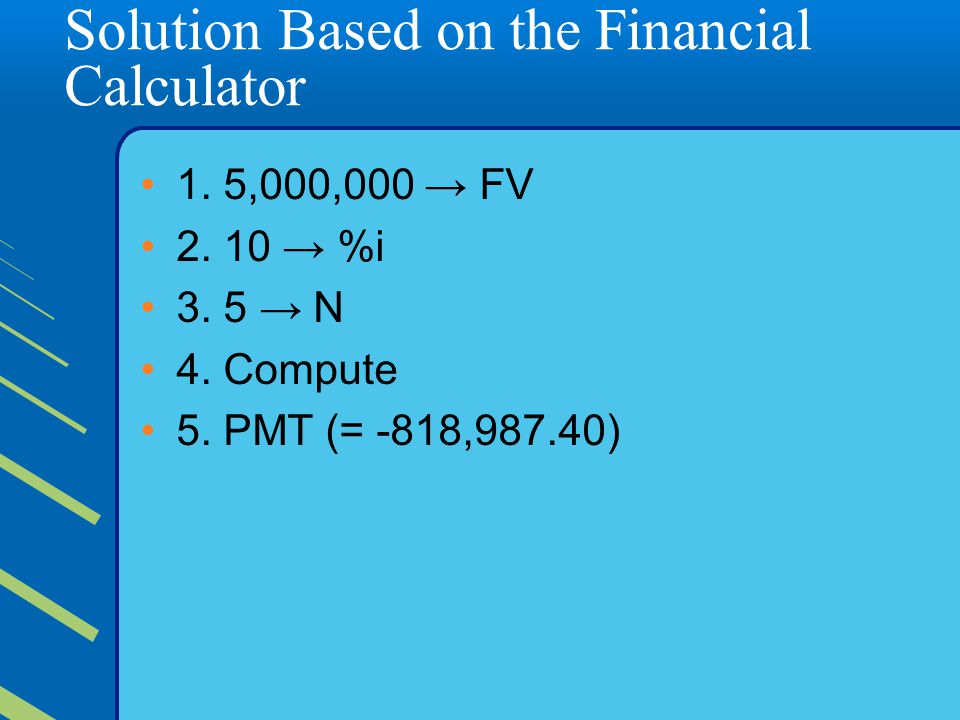 Solution Based on the Financial Calculator