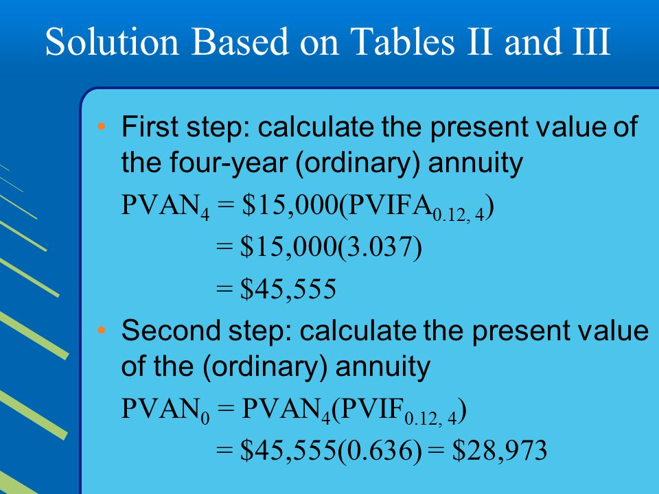 Solution Based on Tables II and III