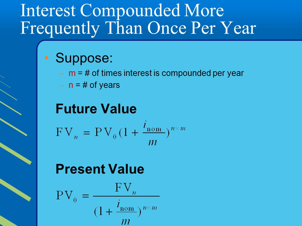 Interest Compounded More Frequently Than Once Per Year