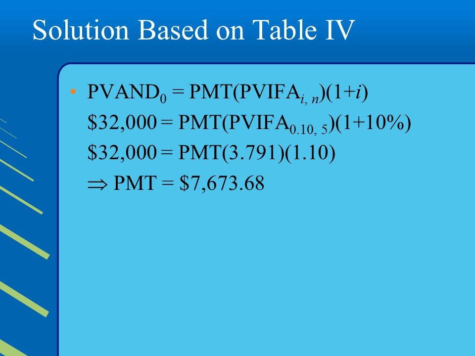 Solution Based on Table IV