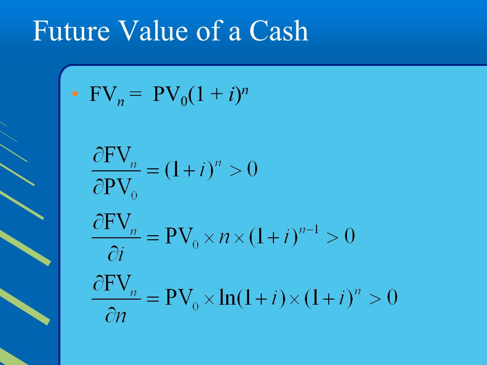 Future Value of a Cash FVn = PV0(1 + i)n