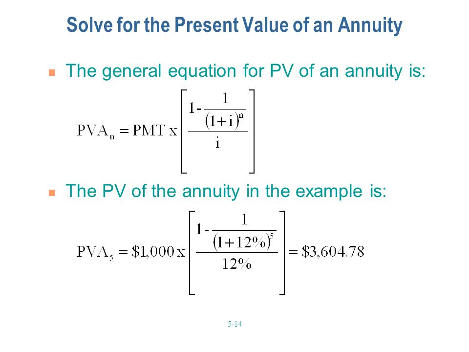 Solve for the Present Value of an Annuity