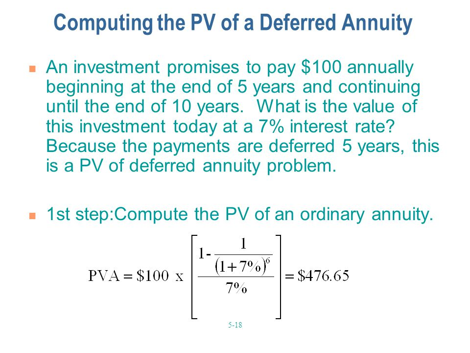 Computing the PV of a Deferred Annuity