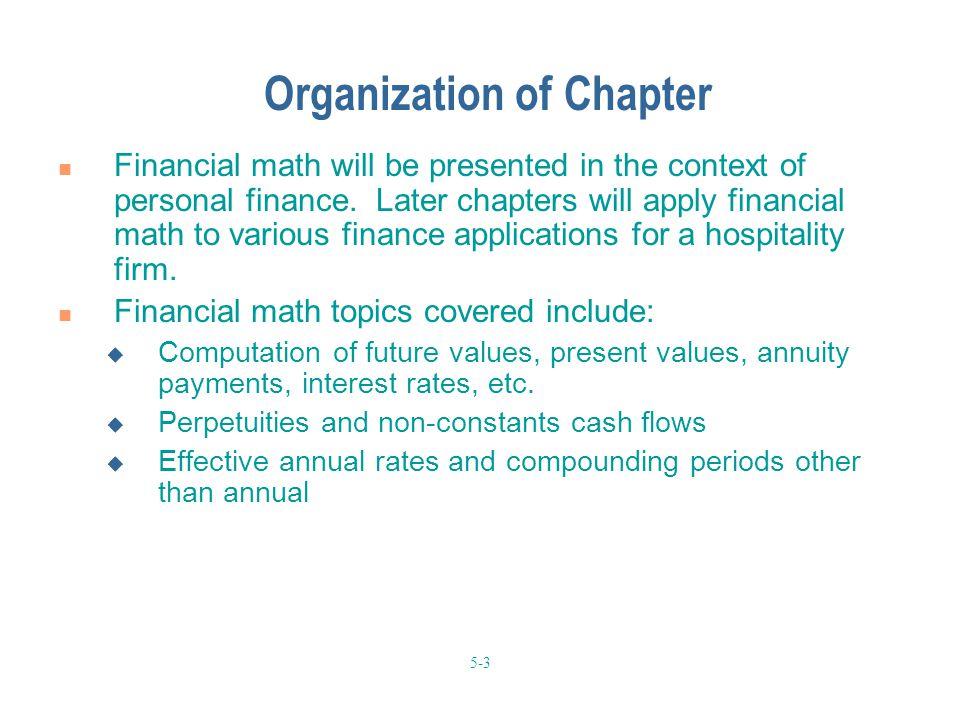 Organization of Chapter