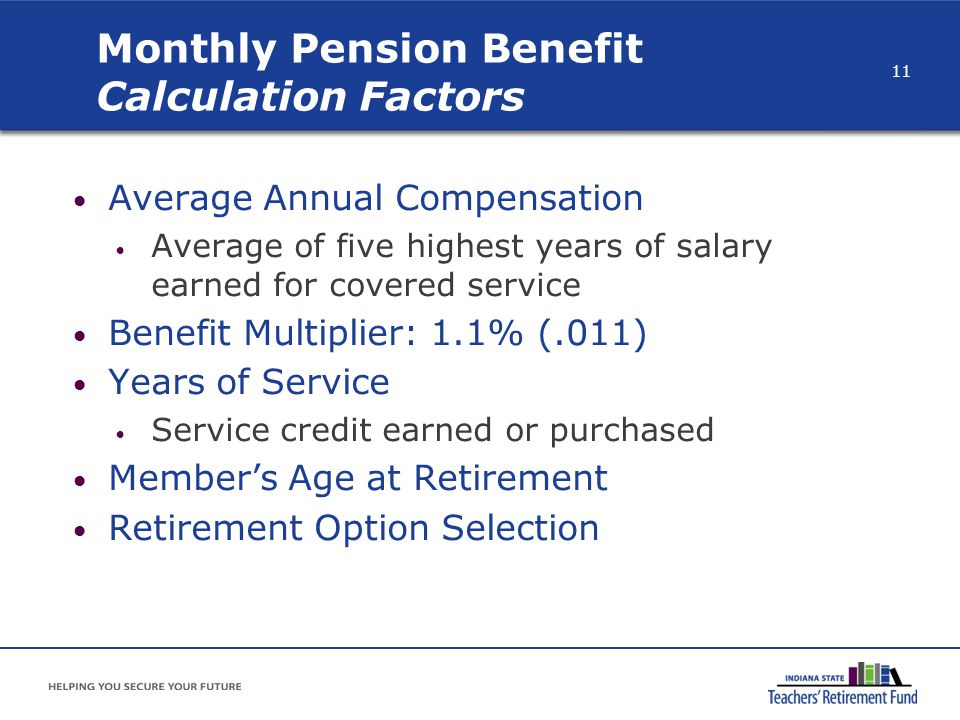Monthly Pension Benefit Calculation Factors