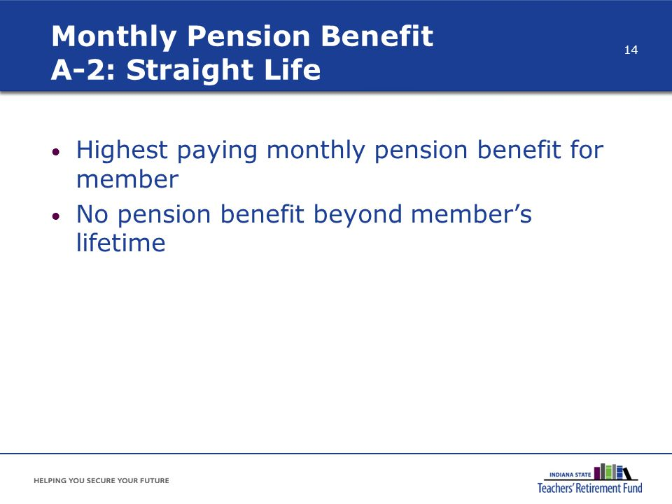 Monthly Pension Benefit A-2: Straight Life