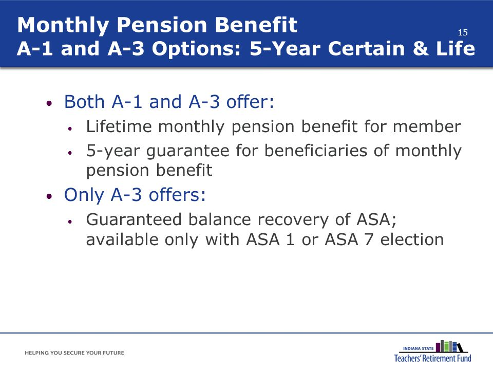 Monthly Pension Benefit A-1 and A-3 Options: 5-Year Certain & Life