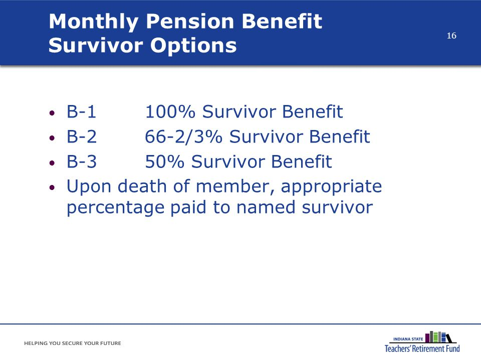 Monthly Pension Benefit Survivor Options