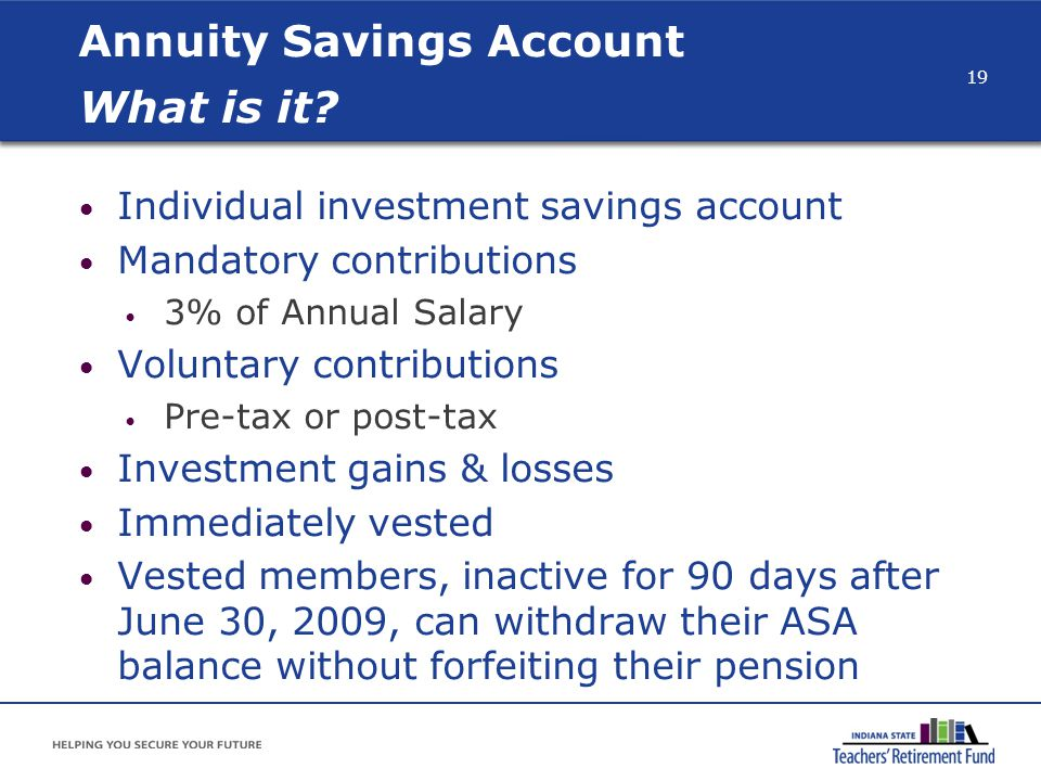 Annuity Savings Account What is it