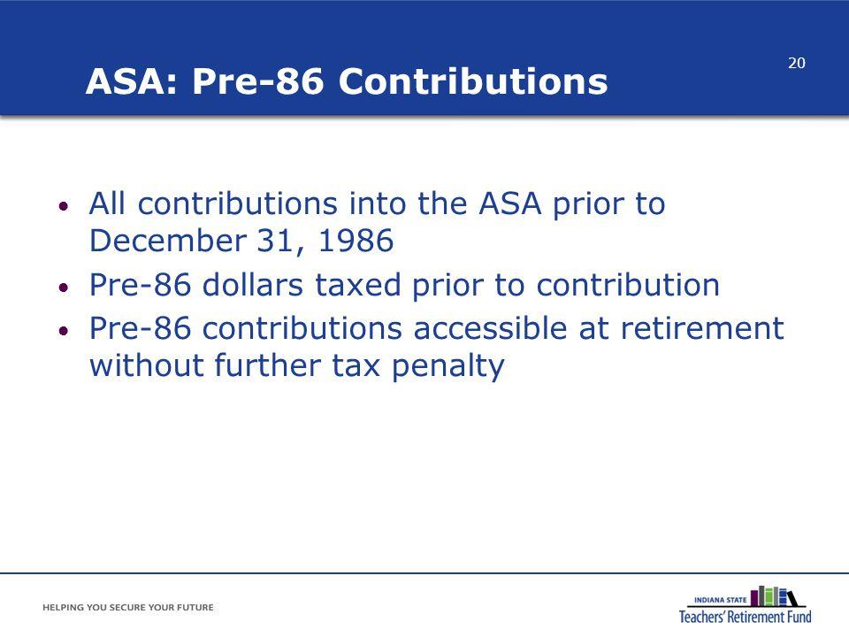 ASA: Pre-86 Contributions