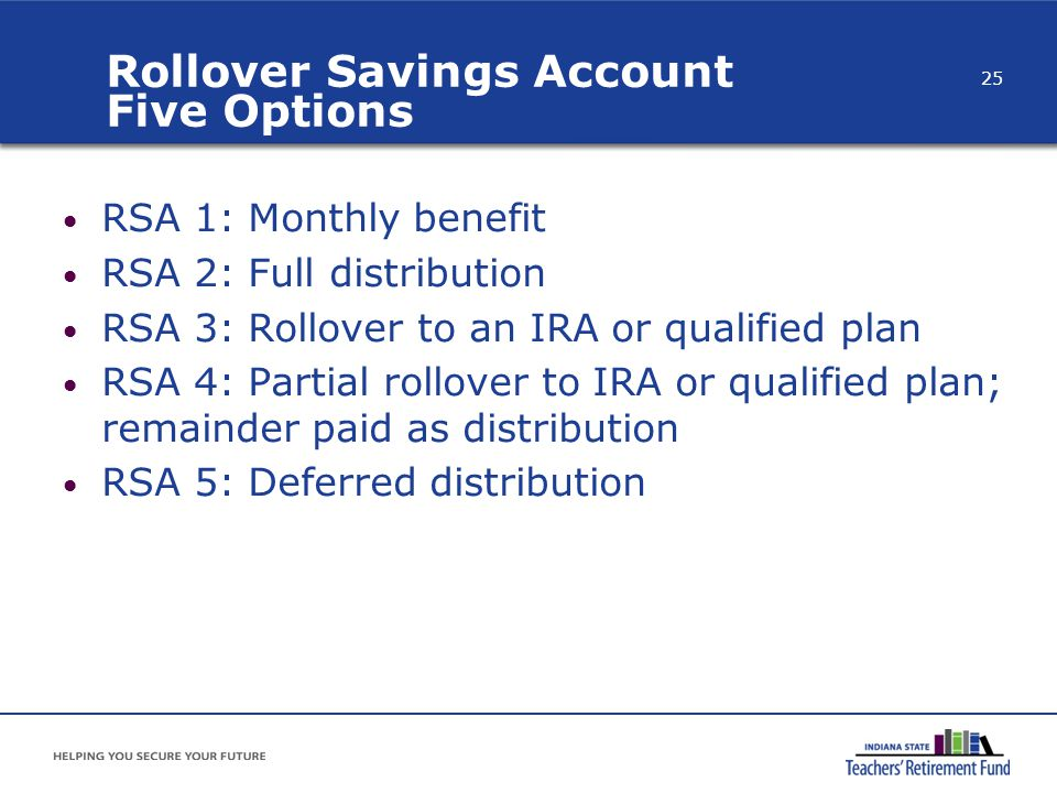 Rollover Savings Account Five Options