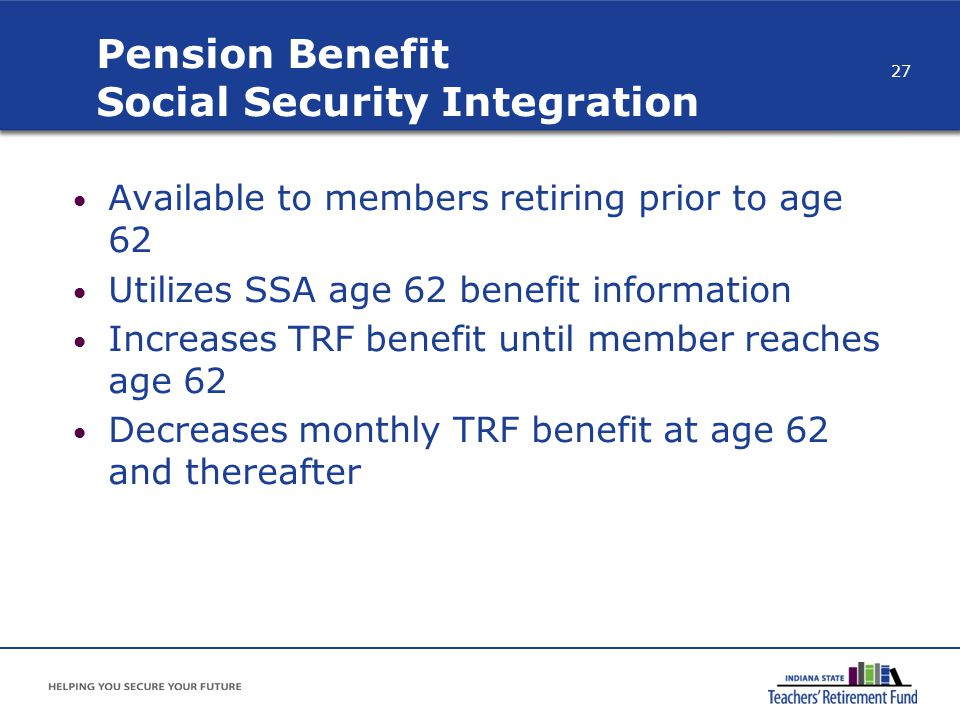 Pension Benefit Social Security Integration