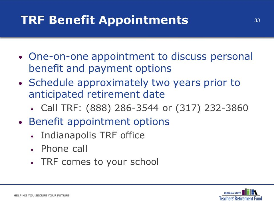 TRF Benefit Appointments