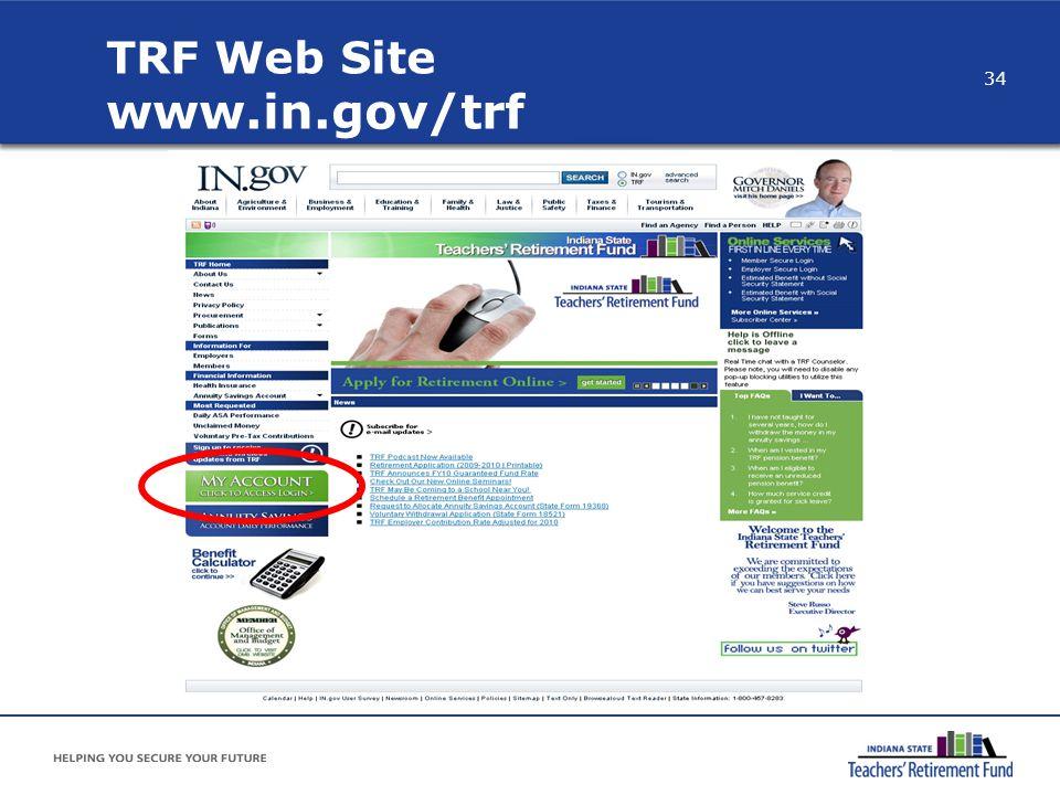 TRF Web Site www.in.gov/trf