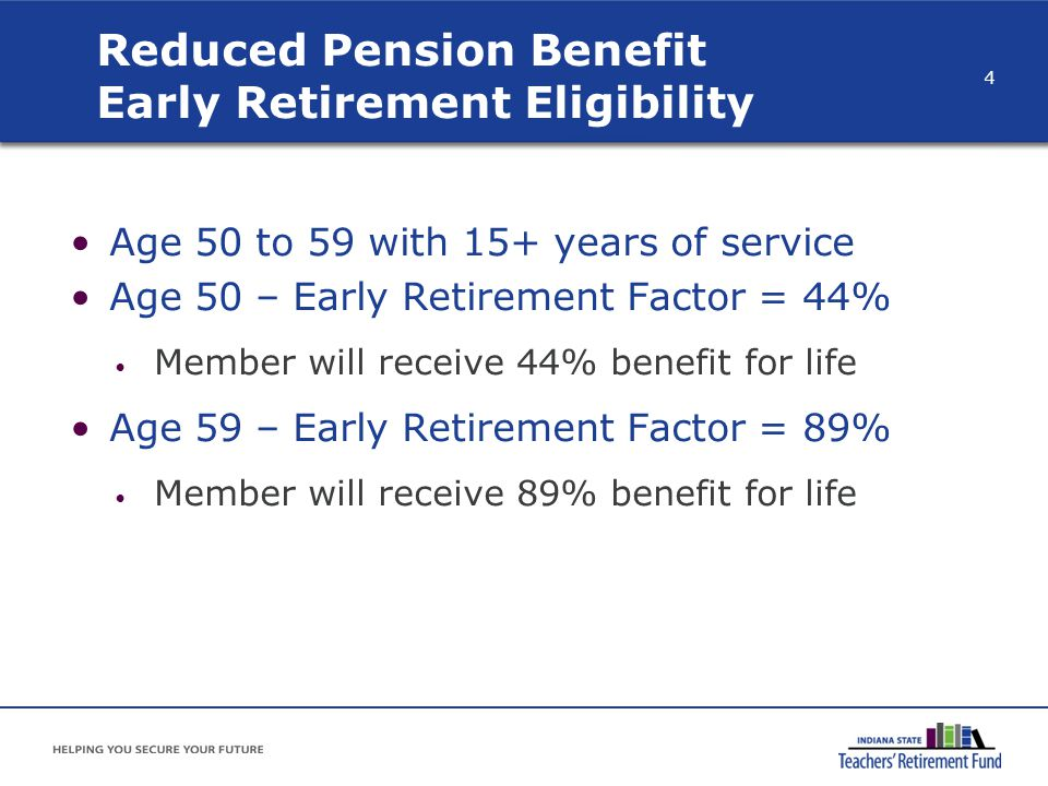 Reduced Pension Benefit Early Retirement Eligibility