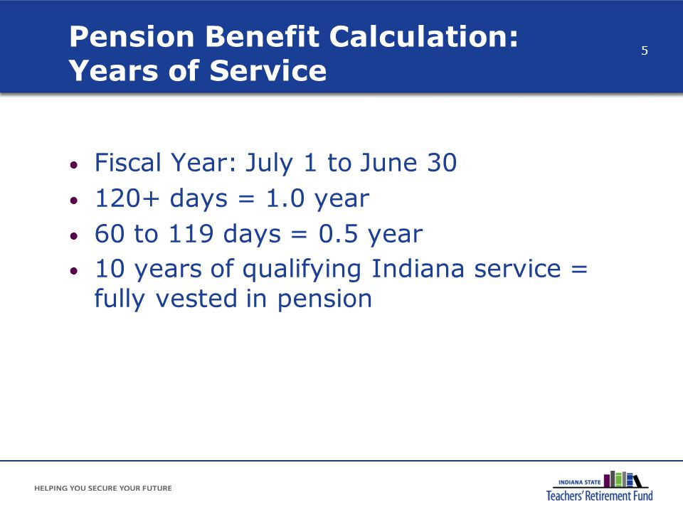 Pension Benefit Calculation: Years of Service