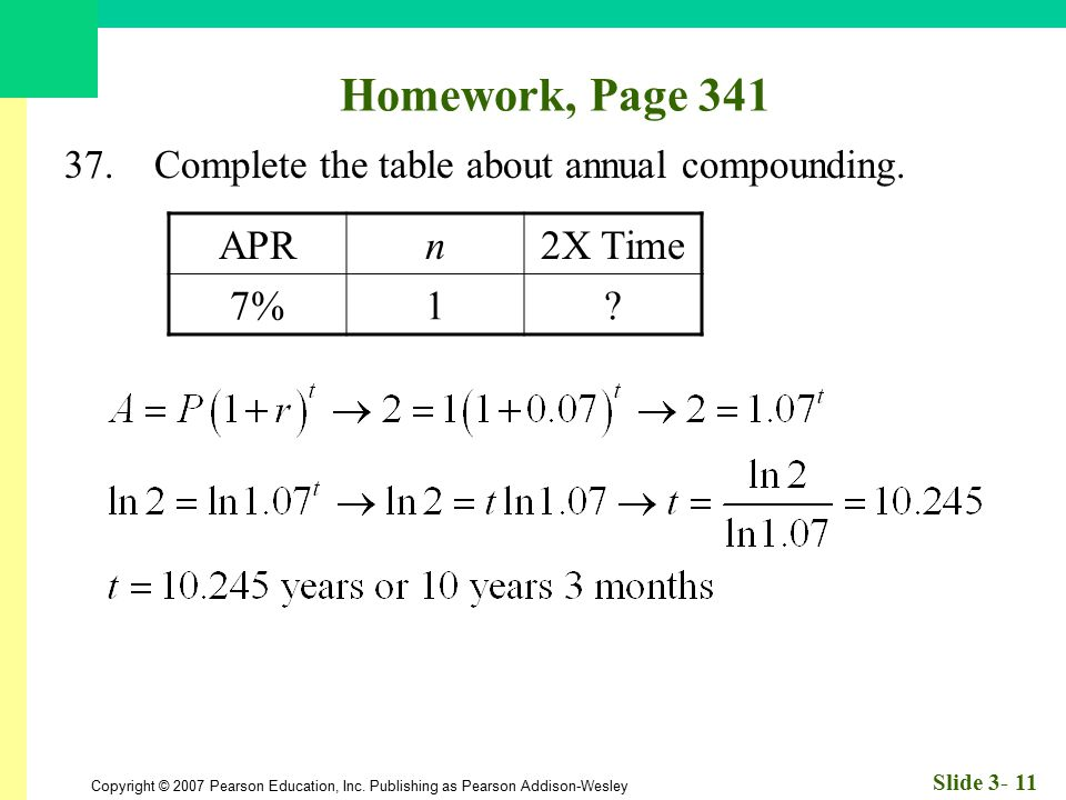 Homework, Page 341 APR n 2X Time 7% 1
