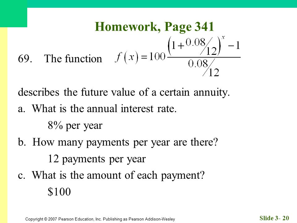 Homework, Page 341 69. The function