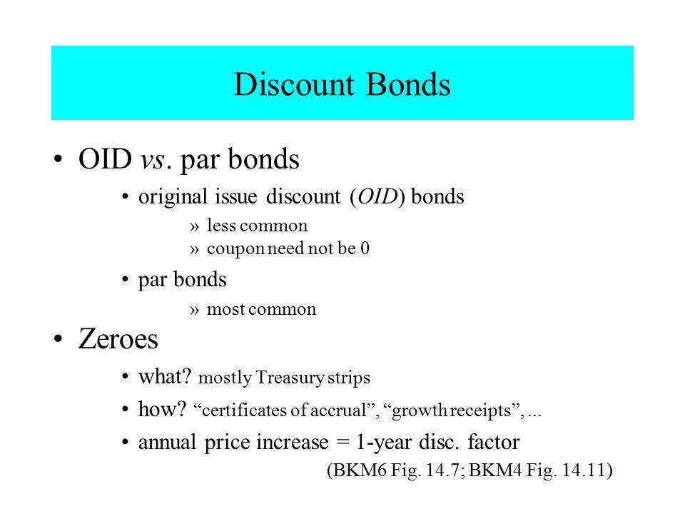 Discount Bonds OID vs. par bonds Zeroes