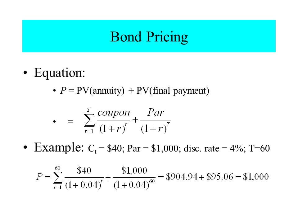 Bond Pricing Equation: