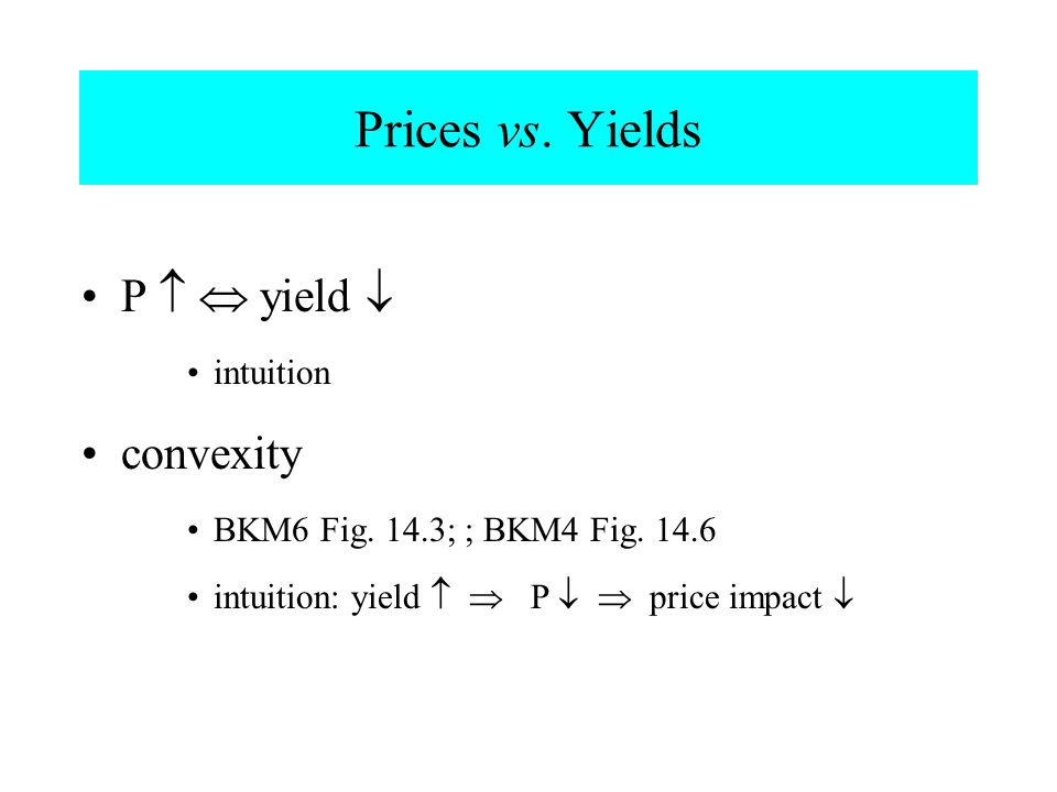 Prices vs. Yields P   yield  convexity intuition