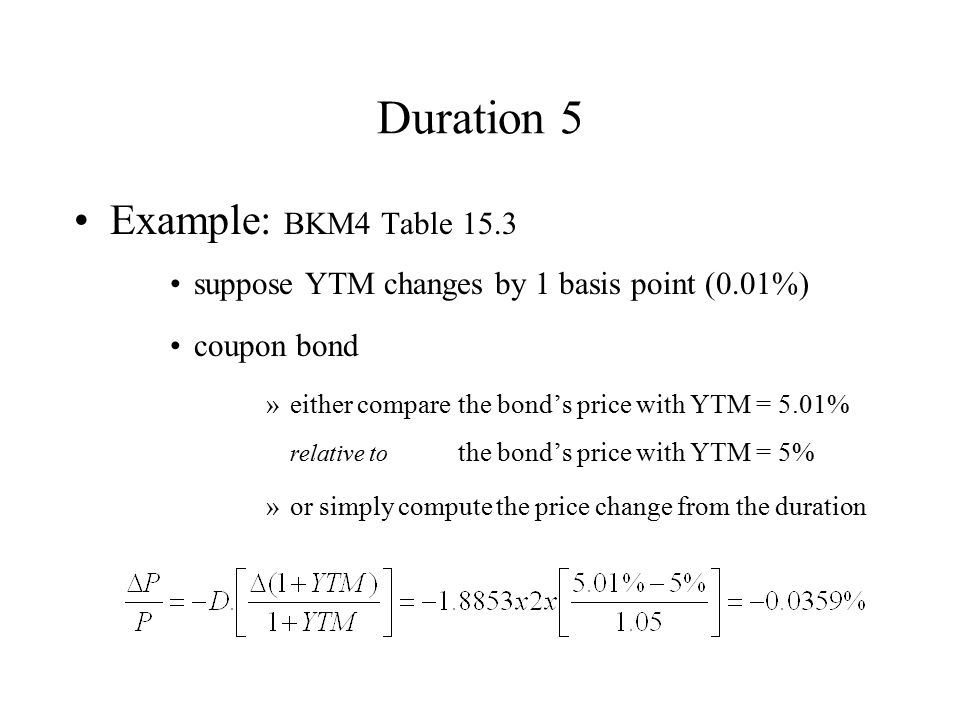 Duration 5 Example: BKM4 Table 15.3