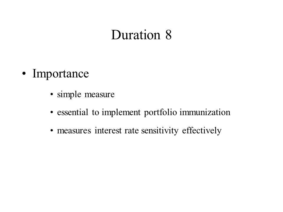 Duration 8 Importance simple measure