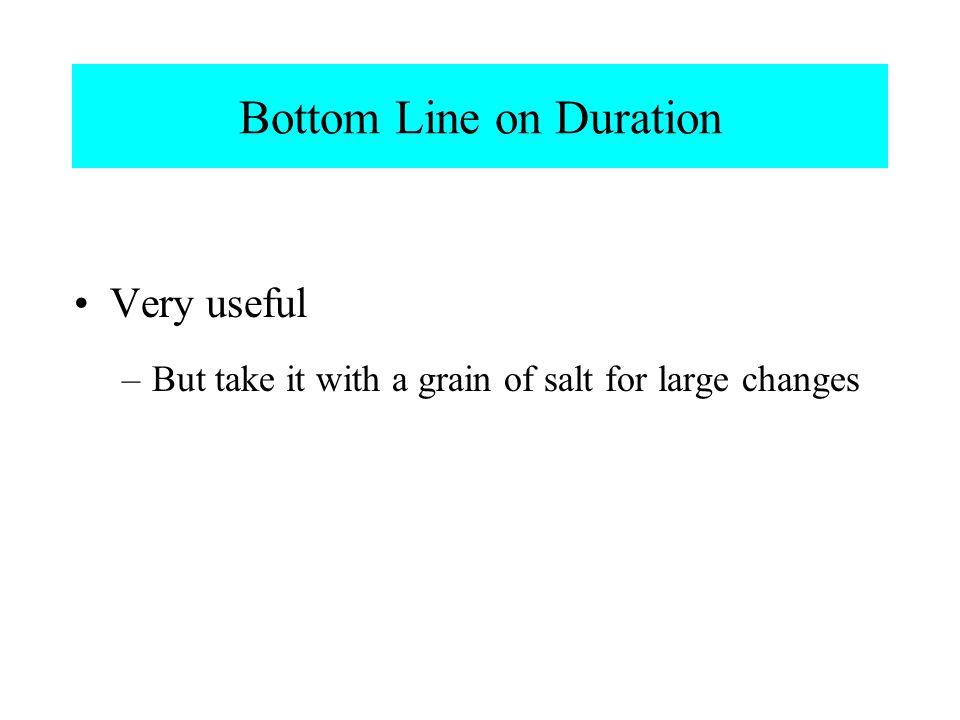 Bottom Line on Duration