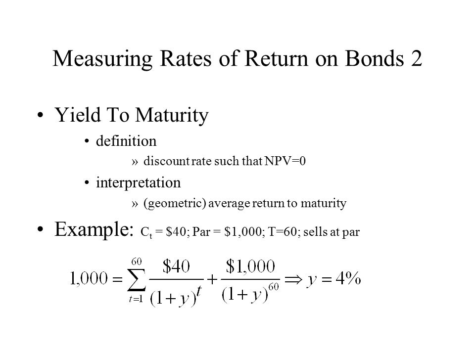 Measuring Rates of Return on Bonds 2