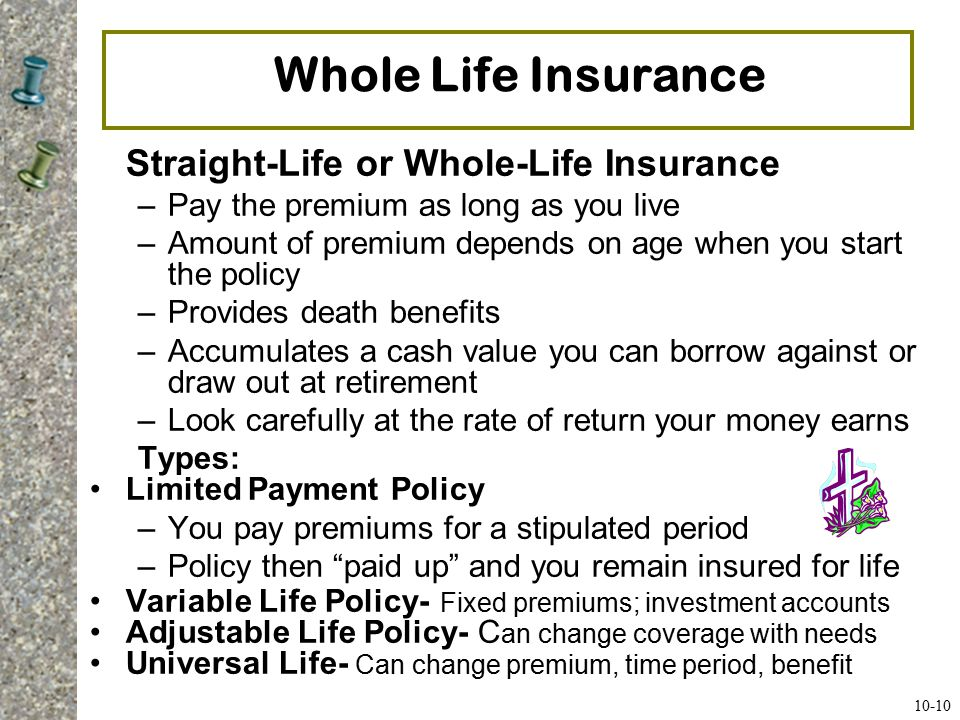 Whole Life Insurance Straight-Life or Whole-Life Insurance