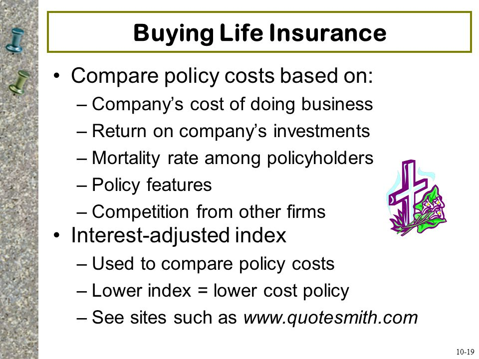Buying Life Insurance Compare policy costs based on: