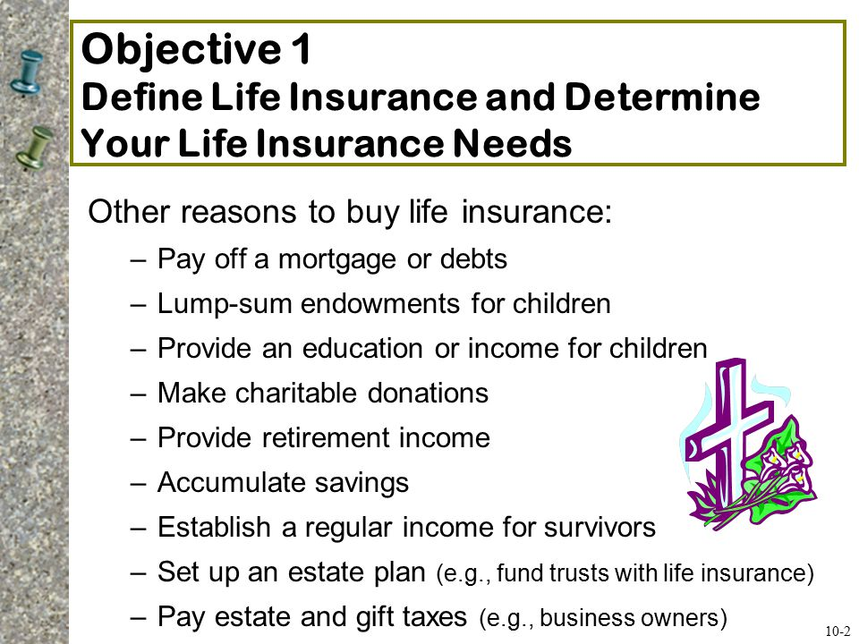 Objective 1 Define Life Insurance and Determine Your Life Insurance Needs