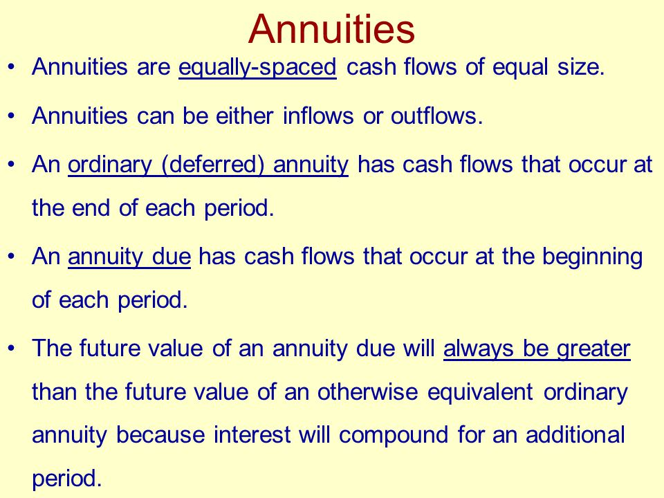Annuities Annuities are equally-spaced cash flows of equal size.