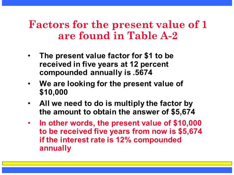 Factors for the present value of 1 are found in Table A-2