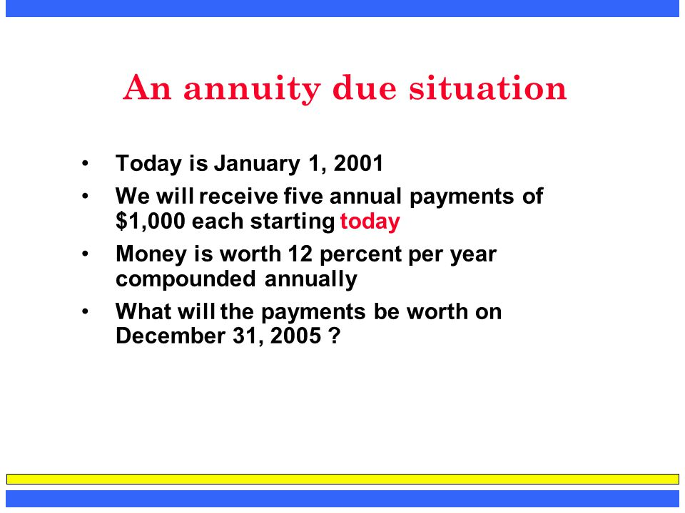 An annuity due situation