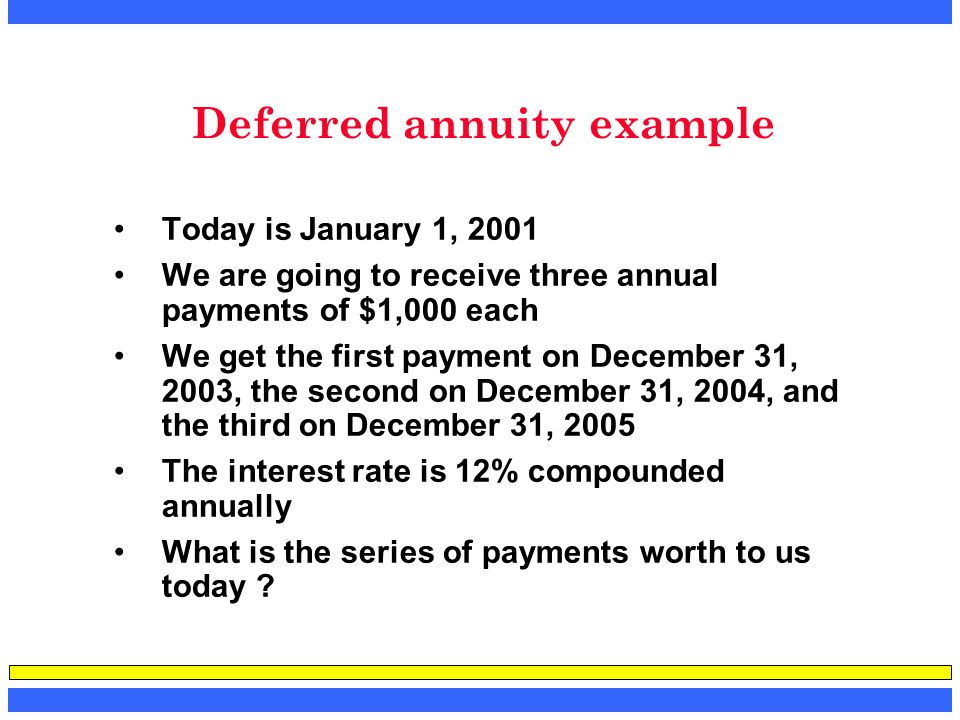 Deferred annuity example