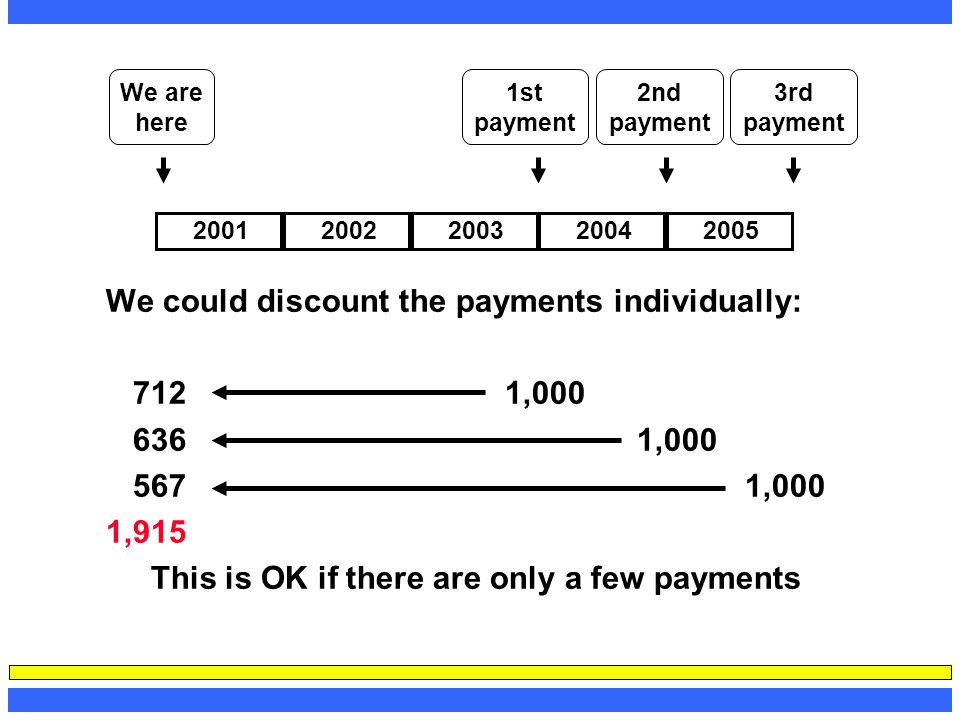 This is OK if there are only a few payments
