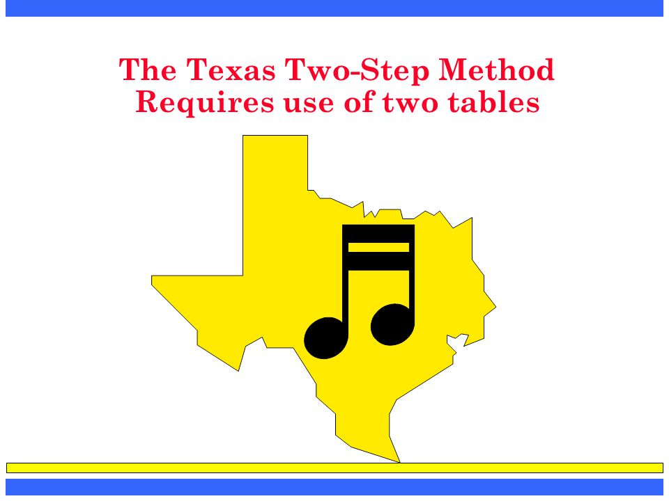 The Texas Two-Step Method Requires use of two tables