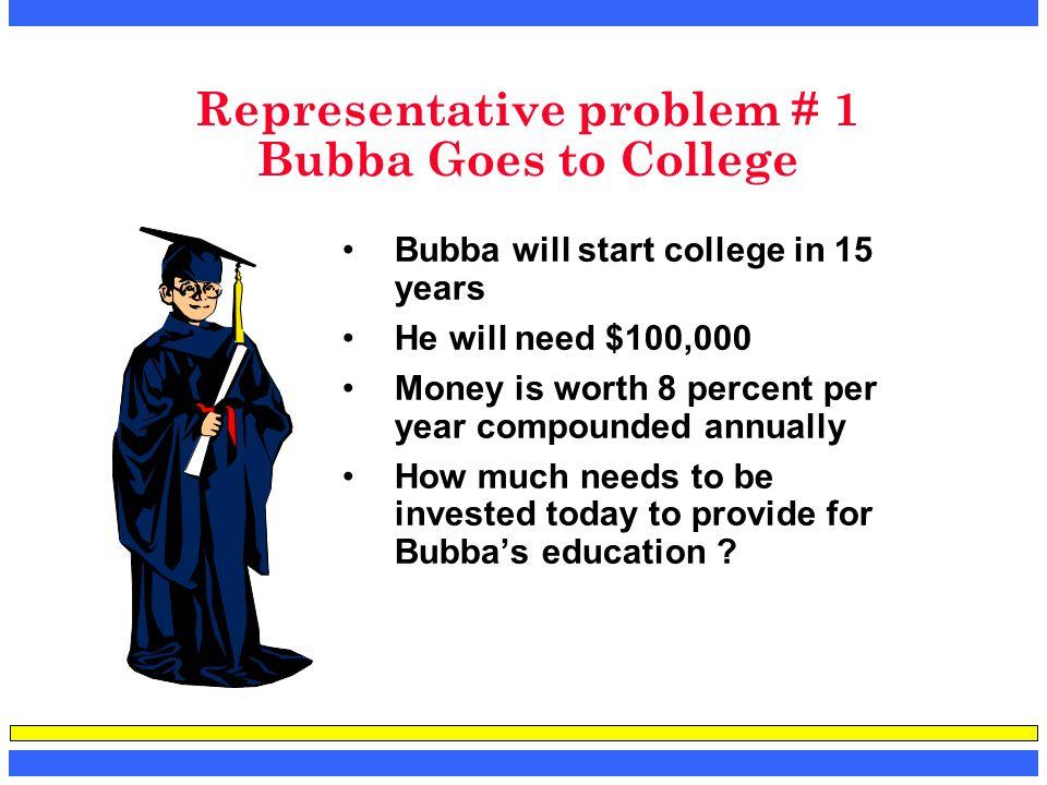 Representative problem # 1 Bubba Goes to College