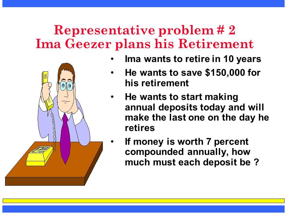 Representative problem # 2 Ima Geezer plans his Retirement