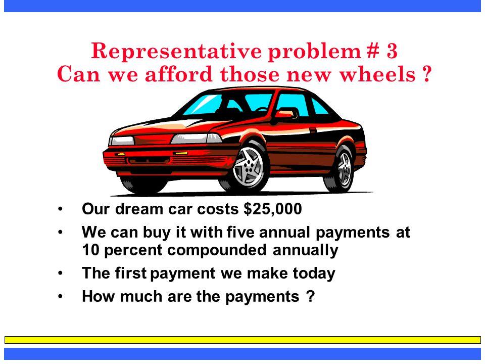 Representative problem # 3 Can we afford those new wheels