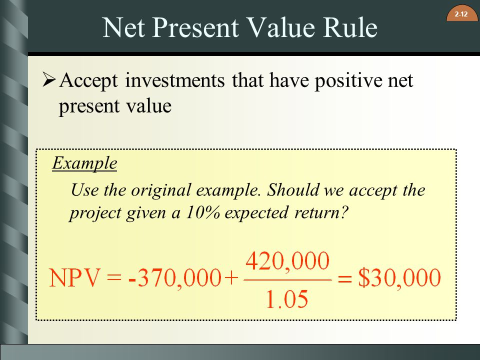 Net Present Value Rule Accept investments that have positive net present value. Example.