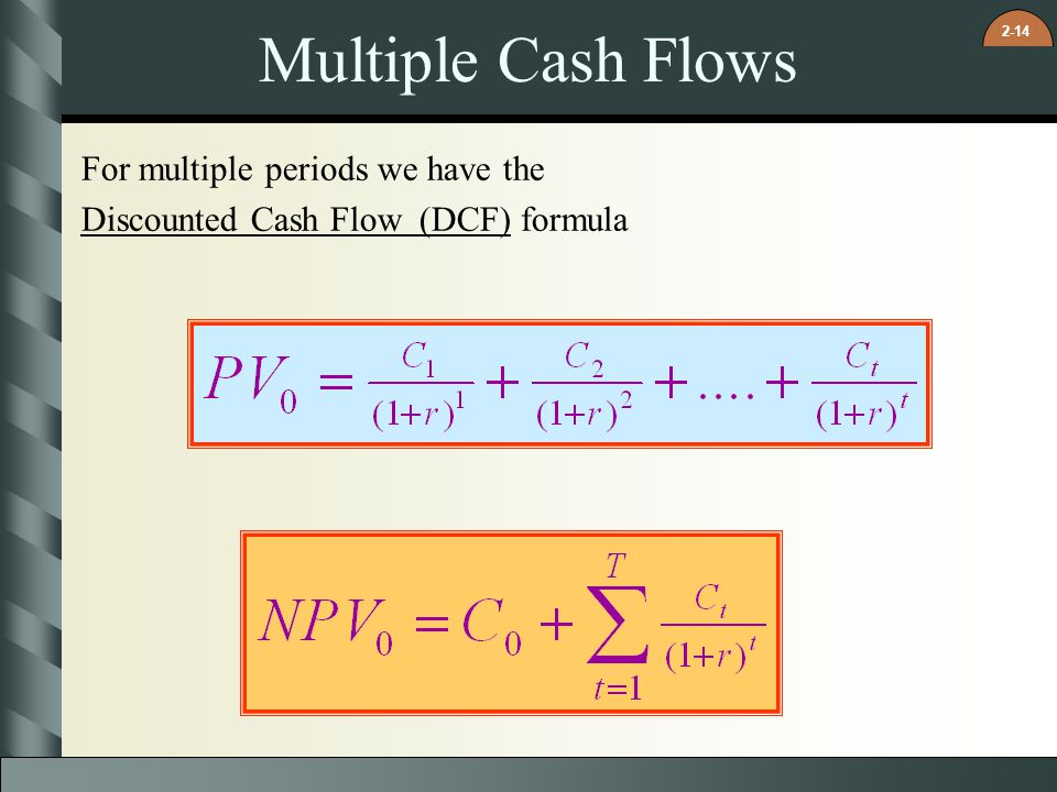 Multiple Cash Flows For multiple periods we have the