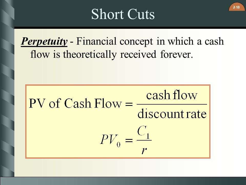 Short Cuts Perpetuity - Financial concept in which a cash flow is theoretically received forever.