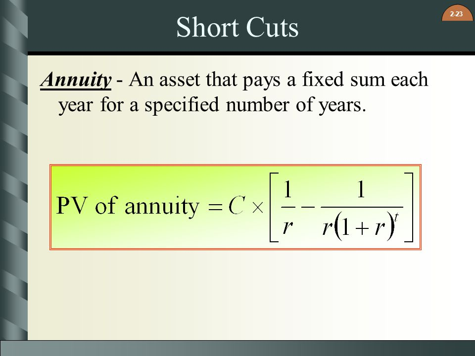 Short Cuts Annuity - An asset that pays a fixed sum each year for a specified number of years.
