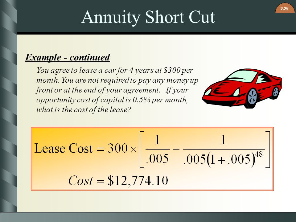 Annuity Short Cut Example - continued