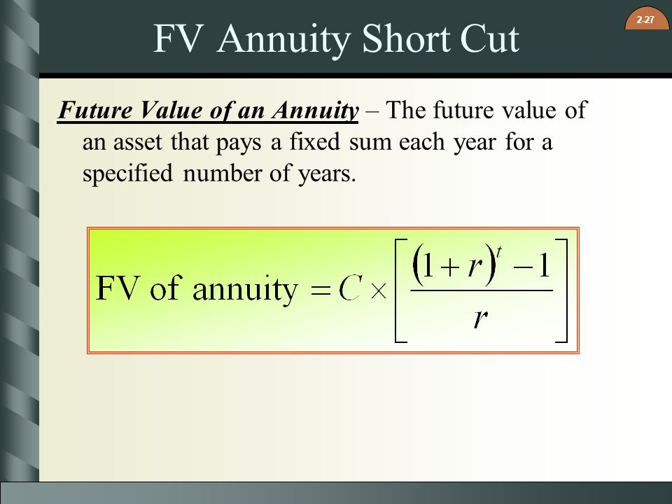 FV Annuity Short Cut Future Value of an Annuity – The future value of an asset that pays a fixed sum each year for a specified number of years.