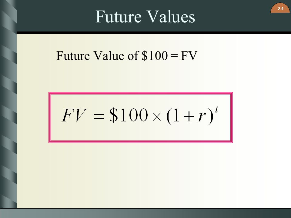 Future Values Future Value of $100 = FV 21
