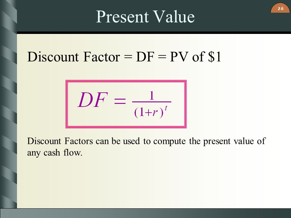 Present Value Discount Factor = DF = PV of $1